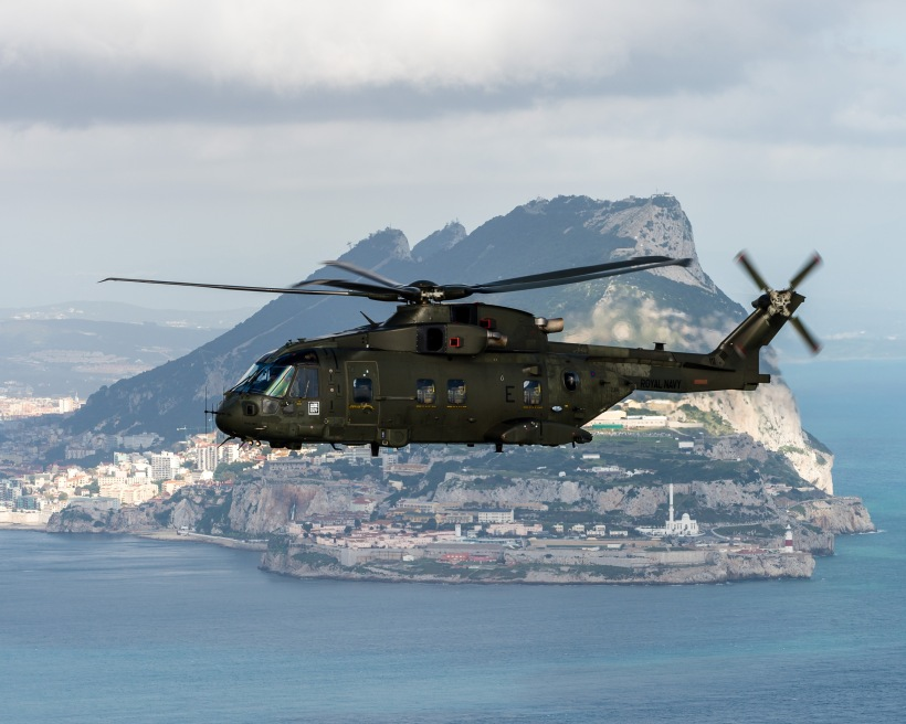 Merlin Mk3 helicopters conduct live winch training at Gibraltar. Crown Copyright 2016